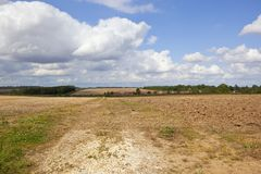 Plowed soil and village Stock Image