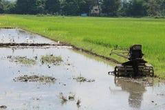 Plower dans le domaine de riz Images libres de droits