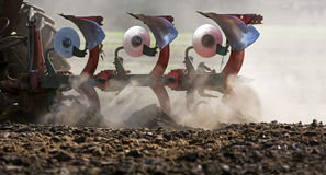 Plowing. In very dry soil Stock Images