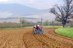 Plowing field in spring. Pictureof a man in tractor plowing field in spring Royalty Free Stock Images