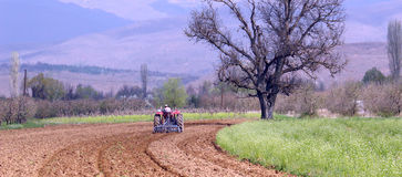 Plowing field in spring. Pictureof a man in tractor plowing field in spring in Macedonia Stock Photos