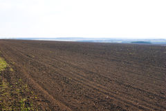 Plowing field uder the cloudy sky in may day Royalty Free Stock Images