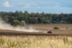 Plowing in the Kaluga region of Russia. Royalty Free Stock Photography