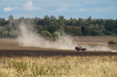 Plowing in the Kaluga region of Russia. Royalty Free Stock Photos