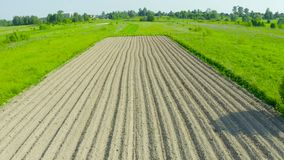 Plowing land furrows for planting agronomical plants among the countryside of grass and meadows trees, aerial view from above