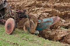 Plowing with an old plow Royalty Free Stock Images