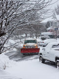 Plowing Snow in Storm Virginia Suburbs Royalty Free Stock Photo