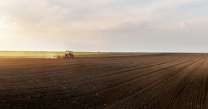 Plowing of stubble field royalty free stock photography