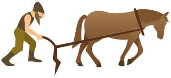 Plowman и лошадь бесплатная иллюстрация