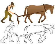 Plowman and horse with plow Stock Photography