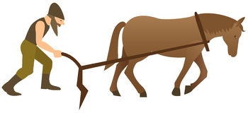 Plowman y caballo libre illustration