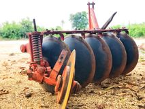 Plows in thailand for tractor. Plows for shoveling Stock Image