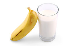 Plátano y leche Fotografía de archivo