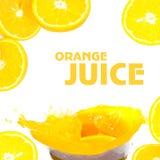 Pluśnięcia sok pomarańczowy Zdjęcie Stock