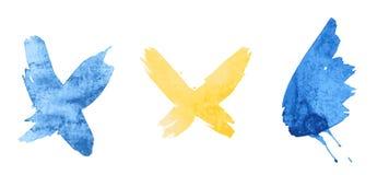 Pluśnięcie błękitny i żółty motyla set Obrazy Stock