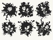 Pluśnięcie kształta sylwetki z desorative różami ilustracja wektor