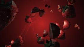 Pluśnięcie truskawka 3D animacja Przedmiot?w wirowa? ilustracja wektor