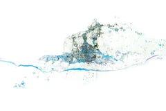 Pluśnięcie woda błękitny kolory na biały tle Zdjęcie Royalty Free