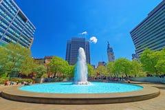 Pluśnięcie woda w fontannie w miłość parku w Filadelfia obrazy stock