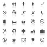 Plublic icons with reflect on white background Stock Photos