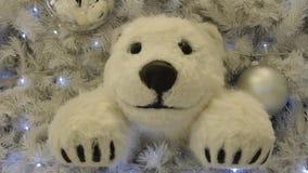 Pluche ijsbeer op Kerstmis. stock video