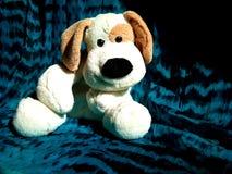 Pluchestuk speelgoed hond met afluisteraar en een grote zwarte neus Stock Afbeelding