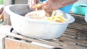 Pluck feather Betong chicken prepare for cooking stock video footage