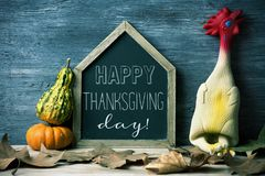 Plucked turkey and text happy thanksgiving day Stock Photography