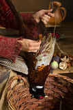 Plucking dead pheasant. Woman plucking a dead pheasant in an old master hunting scene Stock Photos