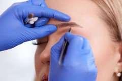 Plucking eyebrows by forceps for client. Close up of cosmetologist in blue silicon gloves plucking eyebrows by forceps for client. Blonde woman during procedure Royalty Free Stock Photography