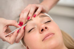 Plucking eyebrows with tweezer by beautician in beauty salon. Royalty Free Stock Photography