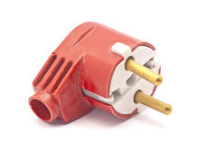 Plug. Broken red plug with no wire Royalty Free Stock Photo