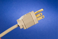 Plug. A 3 prong grounded power plug Royalty Free Stock Image