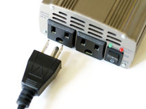 Plug being inserted into socket. Power cord plug being inserted into electrical socket Royalty Free Stock Photo