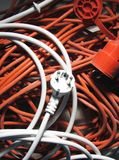 Plug on cables Royalty Free Stock Photos