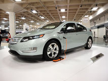 Plug-in car the Chevy Volt on display stock images