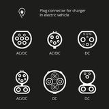 Plug connector for charging electric vehicle. Vector illustration charging cord. Vehicle inlet. Icons connectors type AC and DC. S Stock Images