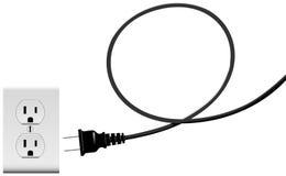 Plug in den elektriska öglan för energiuttagkabel Fotografering för Bildbyråer