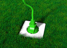 Plug into a grassy ground Royalty Free Stock Photo