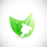 Plug green leave illustration design Royalty Free Stock Image