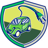 Plug-in Hybrid Electric Vehicle Retro Shield Royalty Free Stock Image