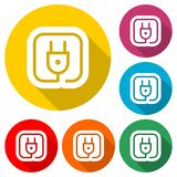 Plug in icon, color icon with long shadow. Simple vector icons set Royalty Free Stock Photography
