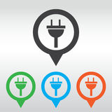 plug icon electricity sign. icon map pin Royalty Free Stock Image
