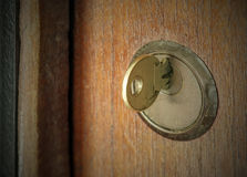 Plug in the key. Plug in the key, the door was closed, selected focus on the key royalty free stock photos