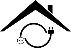 Plug, outlet and house, sticker label, electrician logo Royalty Free Stock Photos