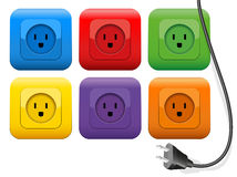 Plug Outlets Color. Connector plug which has plenty of choice of colorful sockets. Isolated vector illustration on white background Royalty Free Stock Image