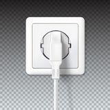 The plug is plugged into the power lines. White plug inserted in a wall socket. 3D illustration  on transparent. Background. Icon of device for connecting Royalty Free Stock Photography