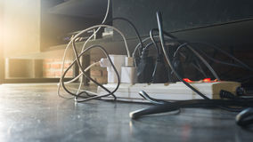 Plug the power plug,. Multiple socket with connected plugs royalty free stock photos