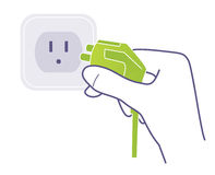 Plug and socket. Illustration of hand plugging power Stock Image