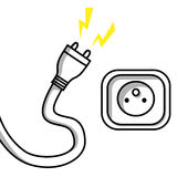 Plug and socket. Illustration of an unplugged cable and a socket Royalty Free Stock Photo